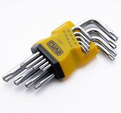 Набор торцевых ключей Torx T10, T15, T20, T25, T27, T30, T40, T45, T50 коротких CrV (9шт) СИЛА